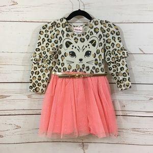 Girls Little Lass Leopard Tulle Dress